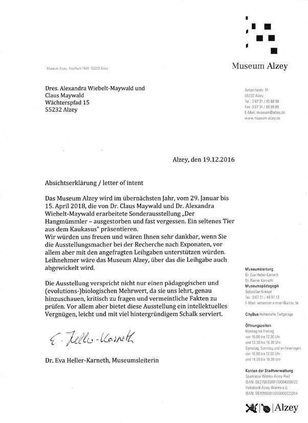 Museum Alzey Letter of intent Hangmümmler-Ausstellung Claus Maywald Der kaukasische Hangmümmler